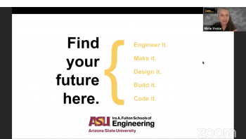 Screenshot of the virtual presentation of Future Sun Devil Family Day