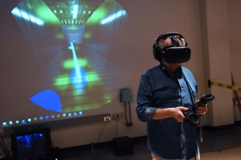 Andre Maestas' 2017 VR capstone project being played with