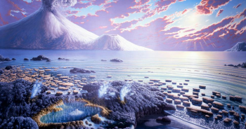 Artist's rendition of what the Earth could have looked like in the Archean Eon, from 4 billion to 2.5 billion years ago.