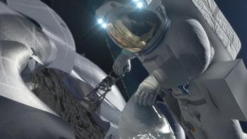 Astronaut taking a sample from an asteroid