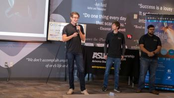 Nicholas Hool, John Patterson and Sami Mian pitch the Hoolest earbud at the ASU Innovation Open semifinal round.