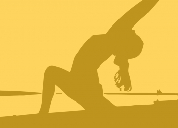silhouette of someone doing a yoga pose