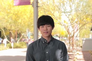 Ryo Kataoka posing at the ASU Downtown Phoenix campus
