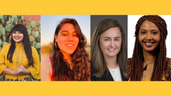 headshots of Reyna Montoya, Marisela Mares, Meaghan Kramer and Miriam Araya