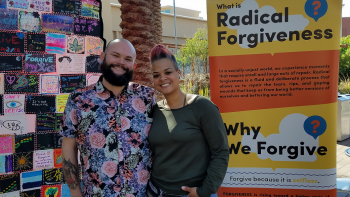 ASU professors Benny LeMaster and Amber Johnson on the ASU Tempe Campus in 2019 with Johnson's pop up museum