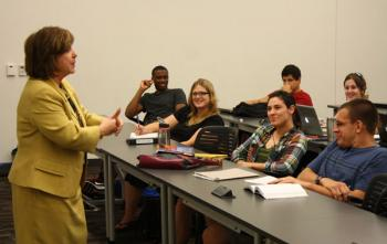 Arizona Supreme Court Chief Justice Rebecca Berch talks to criminology students
