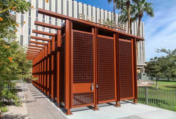 Card-access bicycle parking facility