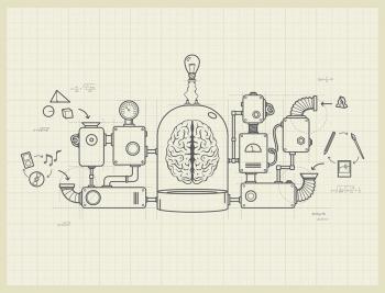 A blueprint of an imaginary idea machine
