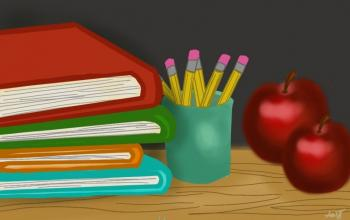 Drawing of books on a desk with cup of pencils and two apples