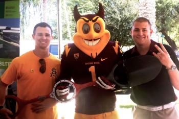 ASU Startup Accelerator company Bosse Tools w/ Sparky at ASU Day at the Capitol