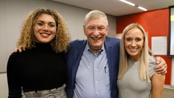 Photo of ASU Law student Jada Allender, MLB Commissioner Emeritus Bud Selig, and ASU Law student Heather Udowitch