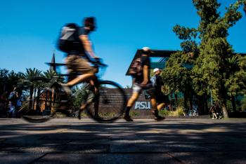 Bicyclist rides along ASU Tempe campus