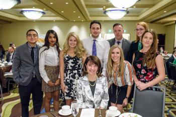 Deb Carstens and students at Scholarship Luncheon
