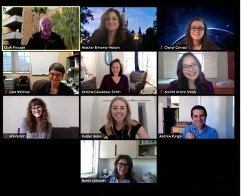 screenshot of students meeting on Zoom