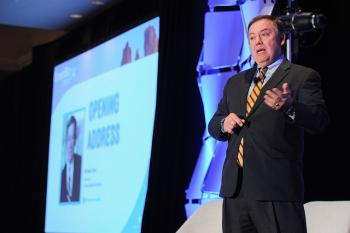 Michael Crow delivers the opening address to the 2014 GreenBiz Forum, a part of