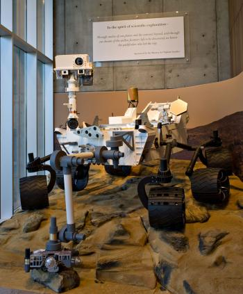 replica of the Mars Curiosity Rover in the ISTB4 building at ASU