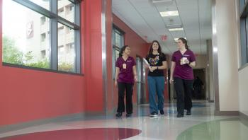 ASU nursing students walk with Phoenix Children's DEU nurse preceptor