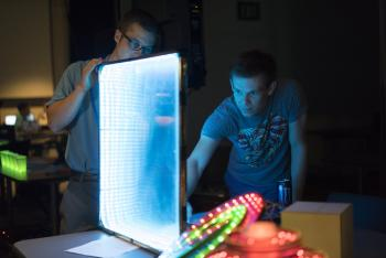 ASU students demonstrate projects at the Spring 2015 Digital Culture Showcase.