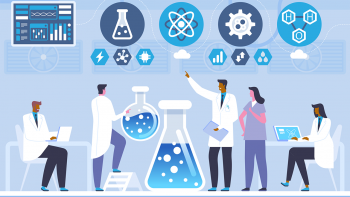 Illustration of group of diverse scientists gathered around large lab equipment