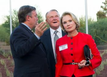 """ASU President Michael M. Crow opens the exhibit """"ASU Skyspace: Air Apparent,"""" with Bruce and Diane Halle in 2012. Bruce Halle, who died last week at 87, was one of ASU's most generous supporters."""
