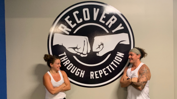 Hayley Avino and brother Jeremy Plummer inside Plummer's Florida-based group fitness center.