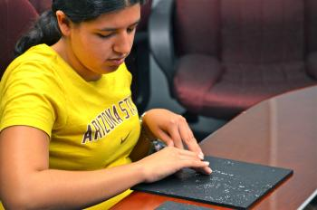 ASU senior Ashleigh Gonzales tests new 3D tactile boards