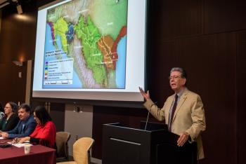 School of Transborder Studies Regents' Professor and Founding Director Emeritus Carlos Velez-Ibanez hosts a panel discussion between social scientists from Arizona and Mexico at the Arizona-Sonora Colloquium.