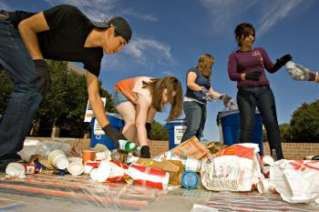 ASU students sort recyclables