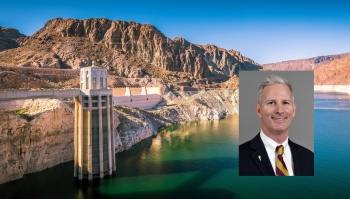Dave White professional headshot with Lake Mead in the background