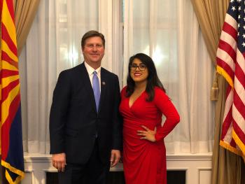 ASU alumna Ellie Perez with Arizona Congressman Greg Stanton before the State of the Union address in Washington D.C. February 2019.