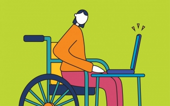 Animated image of person in wheelchair at a laptop desk