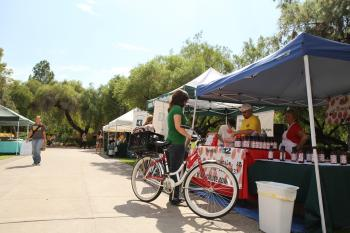 ASU students gather outside for the Tempe farmers market