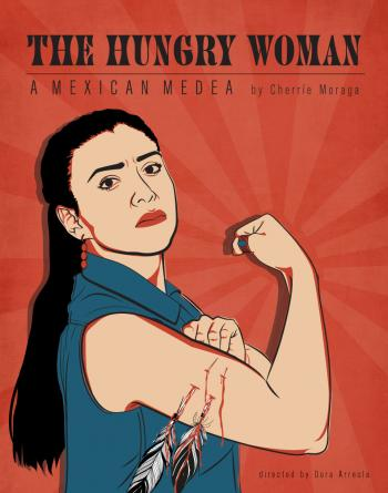 "Poster for ""The Hungry Woman"" featuring Medea styled as Rosie the Riveter"