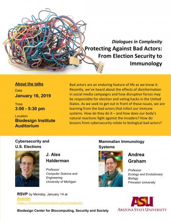 Dialogues in Complexity, Protecting Against Bad Actors event flyer