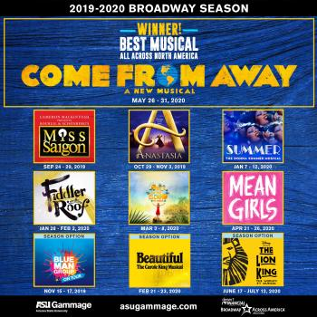 flyer featuring various Broadway logos