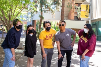 A group of five students in masks on ASU's Tempe campus
