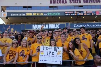 ASU students at Sun Devil Stadium