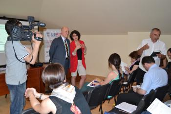 ASU's Fron Nahzi attends a USAID press conference with project partners in Albania