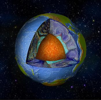 Cutaway of Earth's surface
