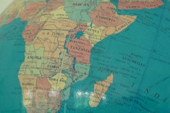 photo of a globe with focus on Africa