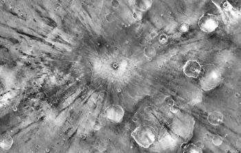 Nighttime heat map by ASU's THEMIS imager of Gratteri Crater on Mars