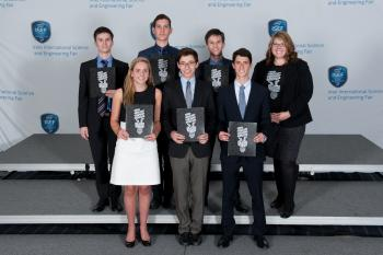 high school students in professional dress at awards ceremony at ISEF