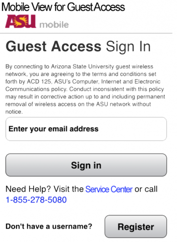 Image of the desktop access screen for ASU's enhanced guest network.
