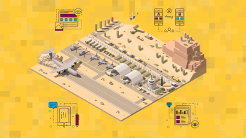 A graphic depicting a U.S. Air Force base and process improvements throughout its operations.