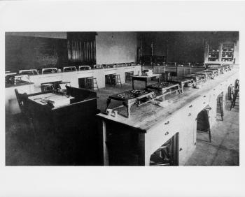 black and white photo of old nutrition lab