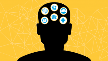A graphic depicting a silhouette of a head with icons related to time, the brain, medication, meditation, performance and health.