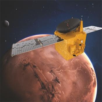 artist's impression of the United Arab Emirates' Hope spacecraft in orbit around Mars