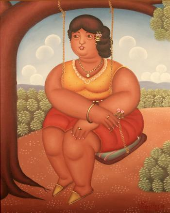 painting of a woman on a swing