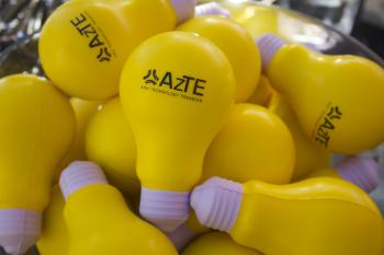 AzTE lightbulb squishy toy with logo