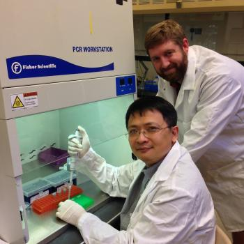 Julian Chen and graduate student Dustin Rand conduct research at ASU